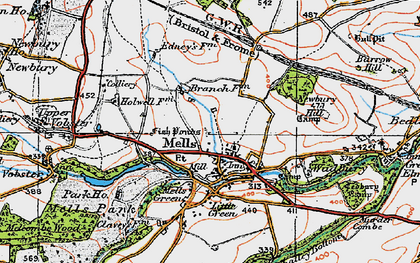 Old map of Mells in 1919