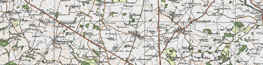 Old map of Melsonby in 1925