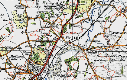 Old map of Melton in 1921