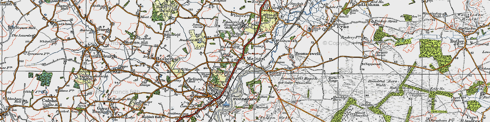 Old map of Wilford Br in 1921