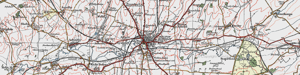 Old map of Melton Mowbray in 1921
