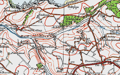 Old map of Ashill in 1919