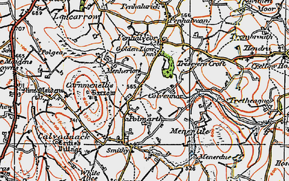 Old map of Menherion in 1919
