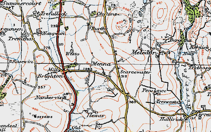 Old map of Menna in 1919