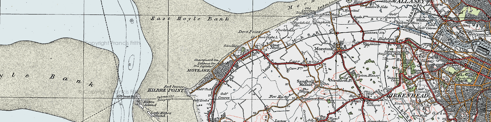 Old map of Meols in 1923