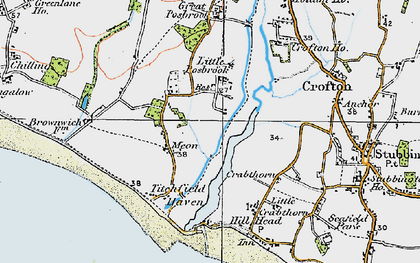Old map of Titchfield Haven in 1919