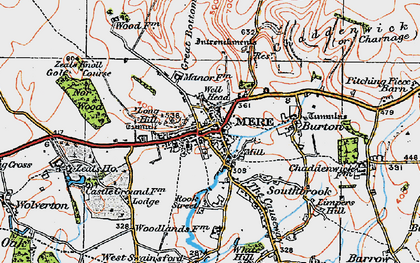 Old map of Mere in 1919