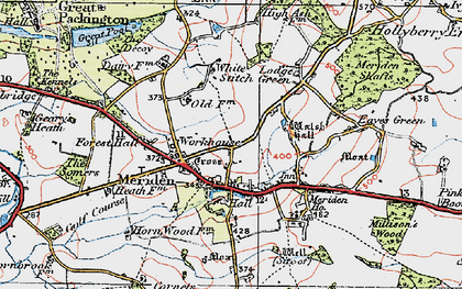 Old map of Meriden in 1921