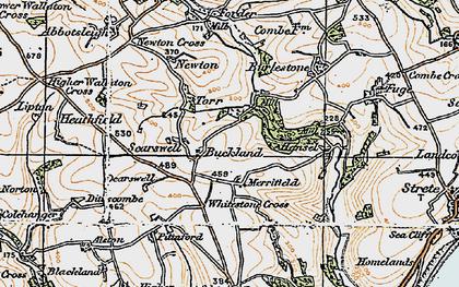 Old map of Whitestone Cross in 1919