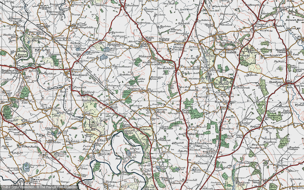 Old Map of Merrington, 1921 in 1921