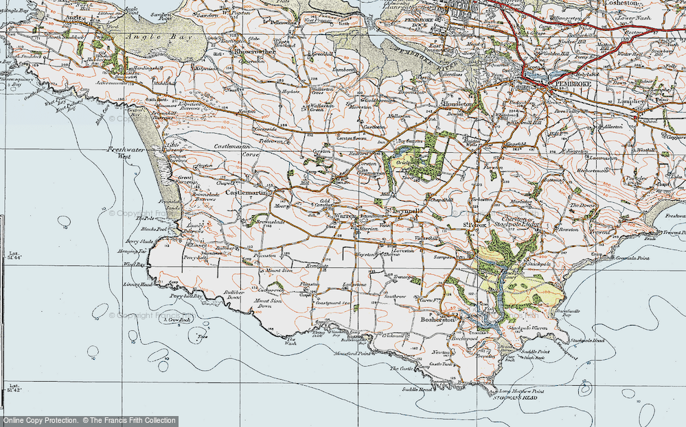 Old Map of Historic Map covering Axton Hill in 1922