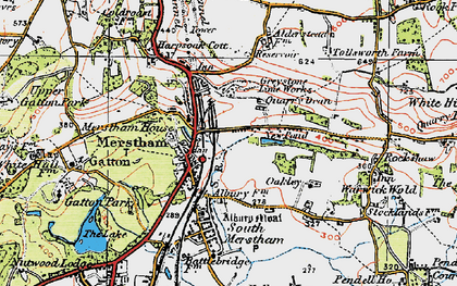 Old map of Merstham in 1920