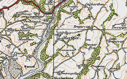 Old map of Merther in 1919
