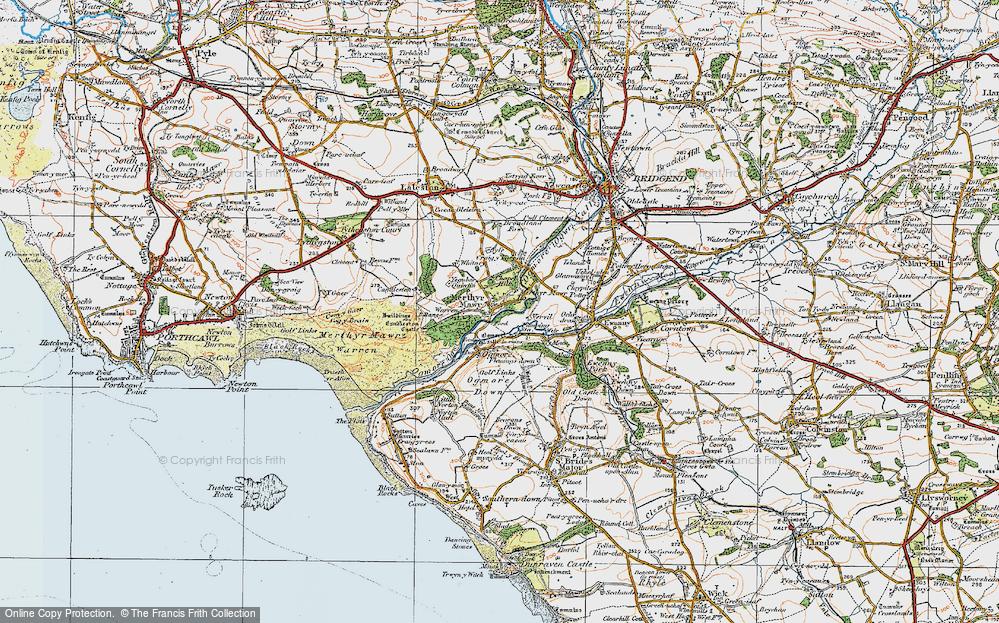 Old Map of Merthyr Mawr, 1922 in 1922