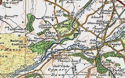 Old map of Merthyr Mawr in 1922