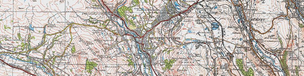 Old map of Merthyr Tydfil in 1923