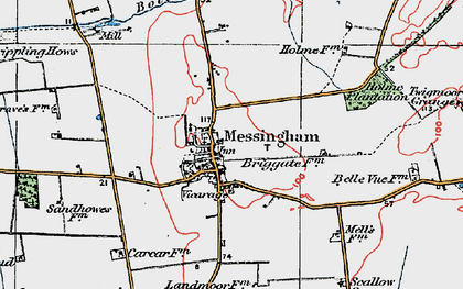 Old map of Messingham in 1923