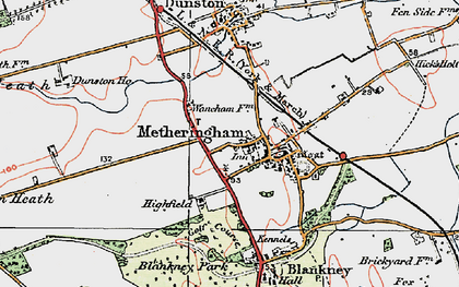 Old map of Metheringham in 1923