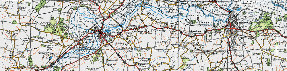 Old map of Mettingham in 1921