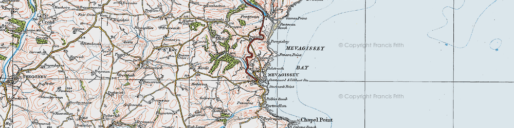 Old map of Mevagissey in 1919
