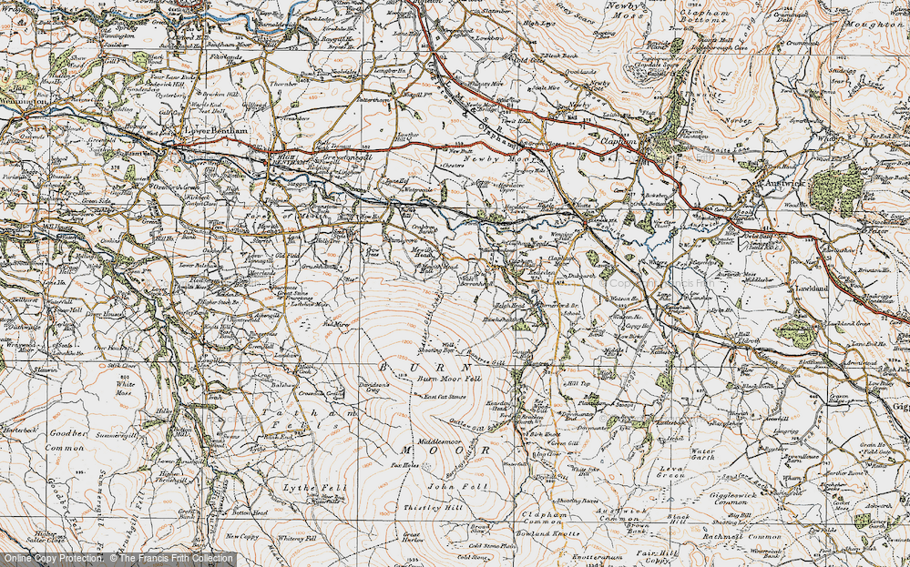 Old Map of Historic Map covering Alder Gill Syke in 1924