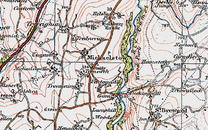 Old map of Michaelstow in 1919