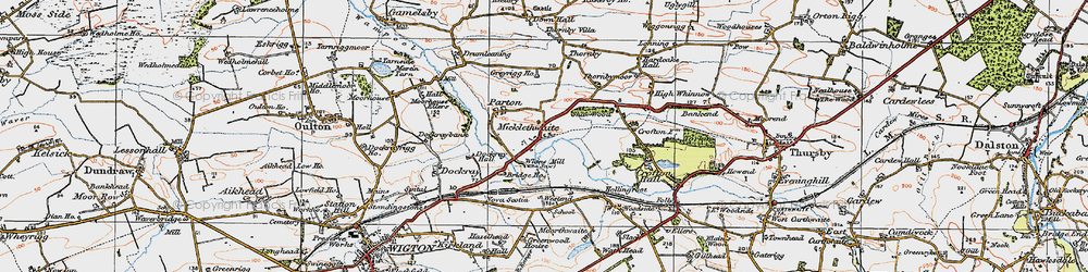 Old map of Whinnow Beck in 1925