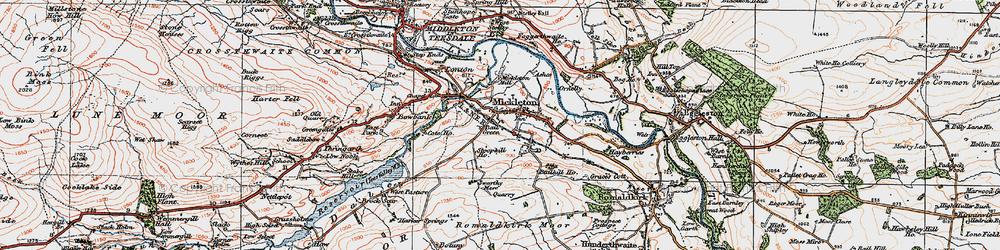 Old map of Mickleton in 1925