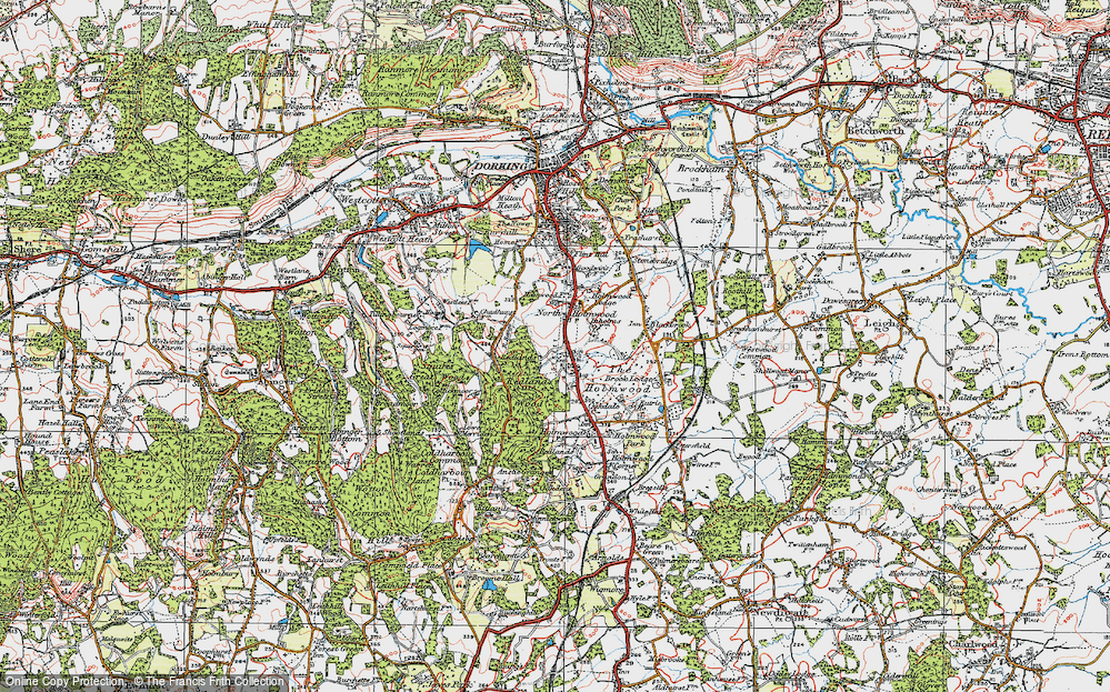 Old Map of Historic Map covering Abinger Forest in 1920