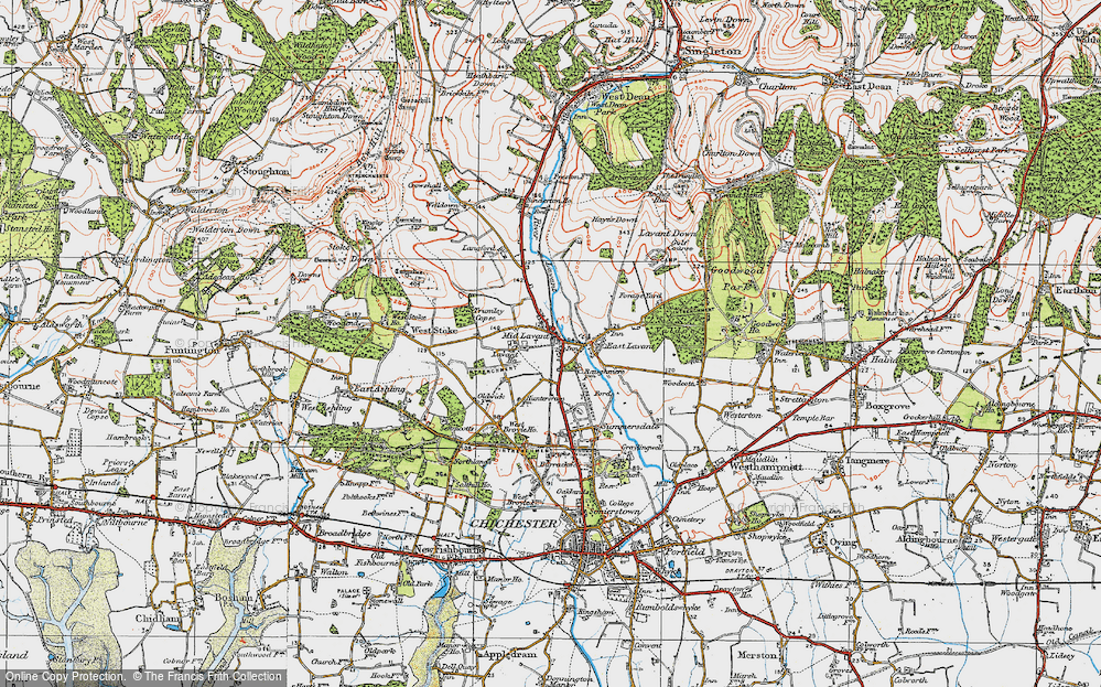 Old Map of Historic Map covering Lavant Ho (Sch) in 1919