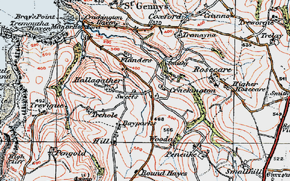 Old map of Middle Crackington in 1919