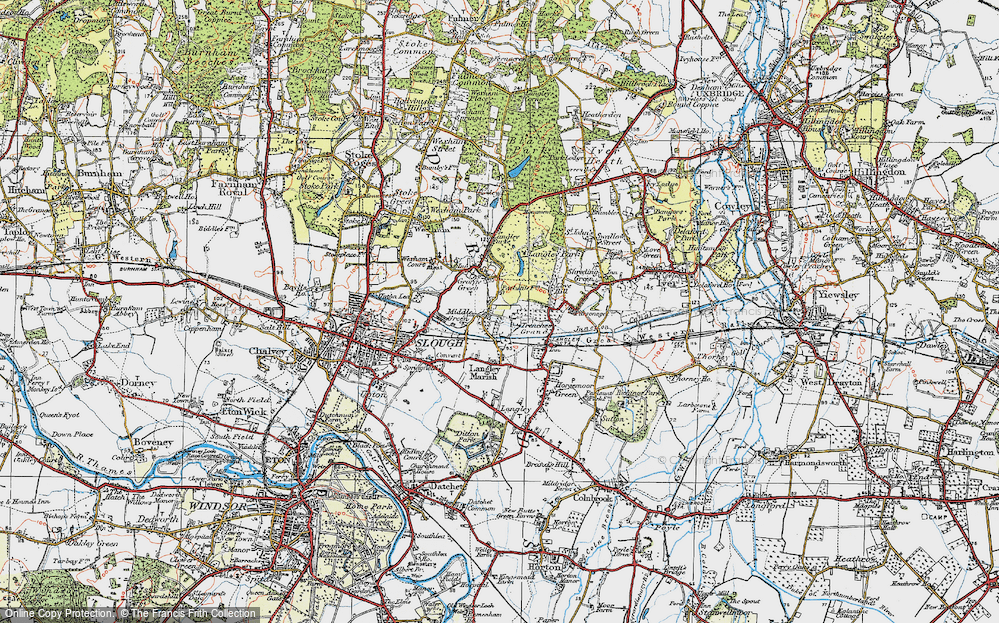 Old Map of Middle Green, 1920 in 1920