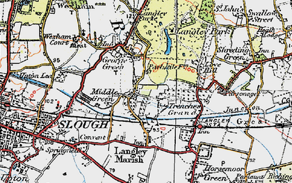 Old map of Middle Green in 1920