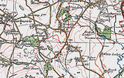 Old map of Middle Handley in 1923