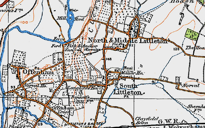 Old map of Middle Littleton in 1919