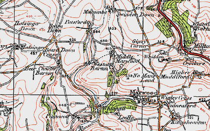 Old map of Westcott Barton in 1919