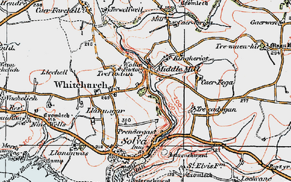 Old map of Middle Mill in 1922