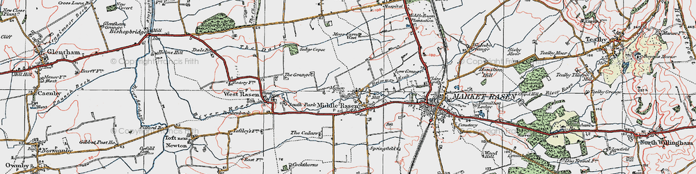 Old map of Middle Rasen in 1923