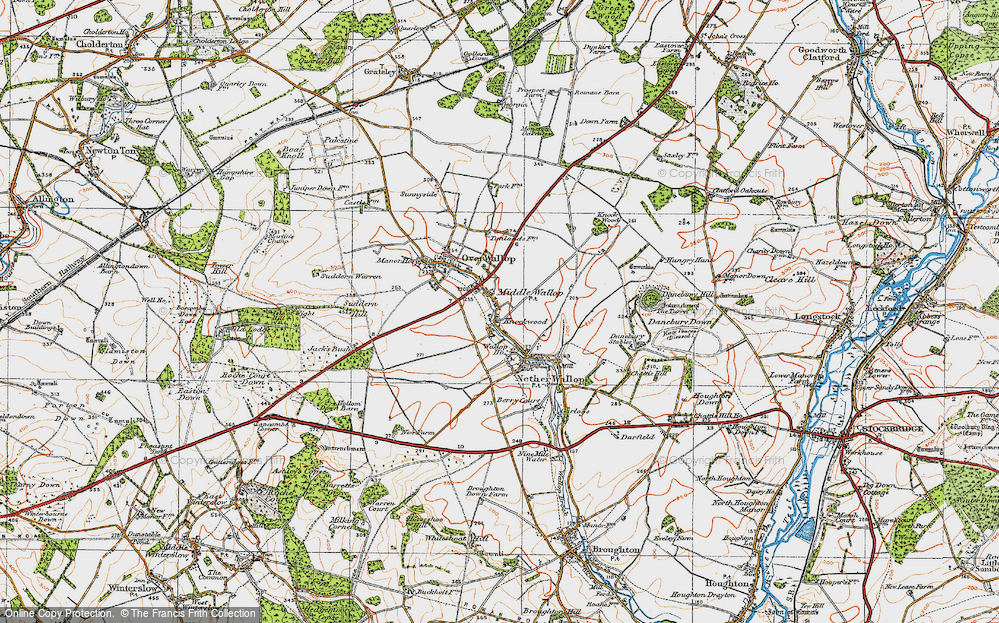 Old Map of Middle Wallop, 1919 in 1919