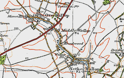 Old map of Middle Wallop in 1919