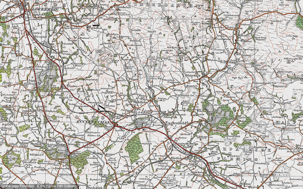 Old Map of Historic Map covering Woodlands in 1925