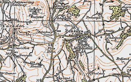 Old map of Middlehill in 1919