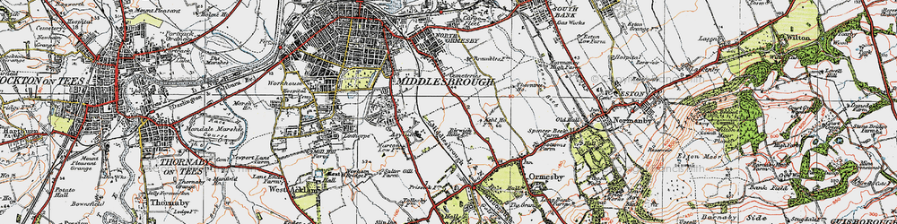 Old map of Middlesbrough in 1925