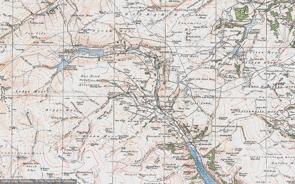 Old Map of Historic Map covering Thwaite Ho in 1925