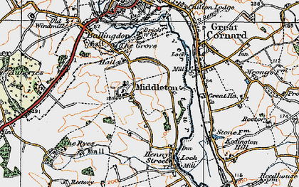 Old map of Middleton in 1921