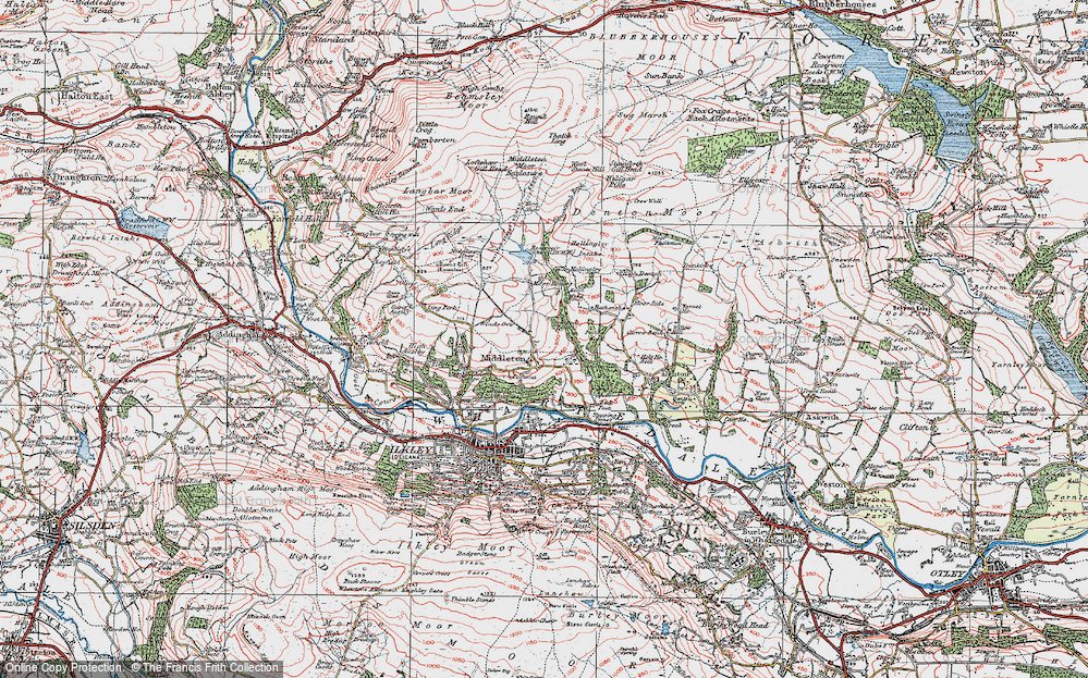Old Map of Historic Map covering Wool Stones Hill in 1925