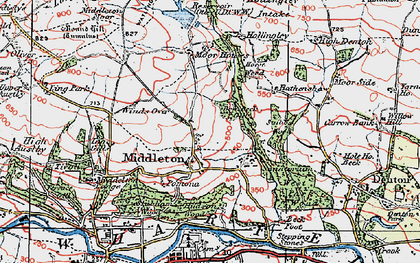 Old map of Heligar Pike in 1925