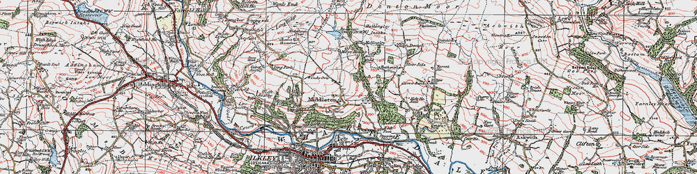 Old map of Wool Stones Hill in 1925