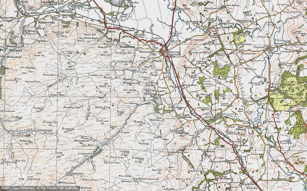 Old Map of Historic Map covering Langlee in 1926