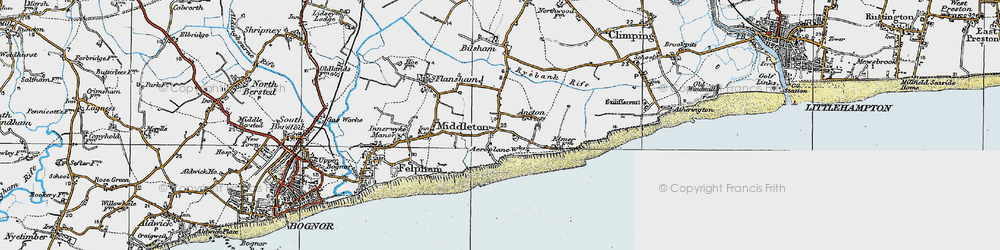 Old map of Middleton-on-Sea in 1920